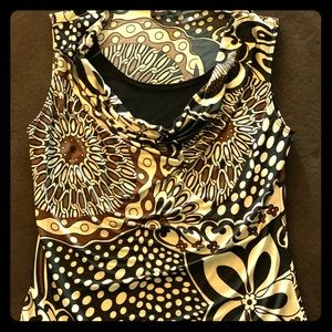 Black/Brown/White Patterned Blouse -Brittany Black
